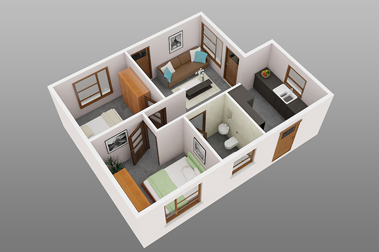 D House Plans Rooms Bedroom House Plans Sqft Download   Small House Design  2 Rooms