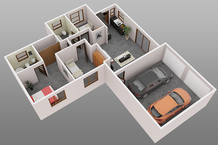 3 Bedroom 3 Bathroom Double Garage on Bungalow House Floor Plans